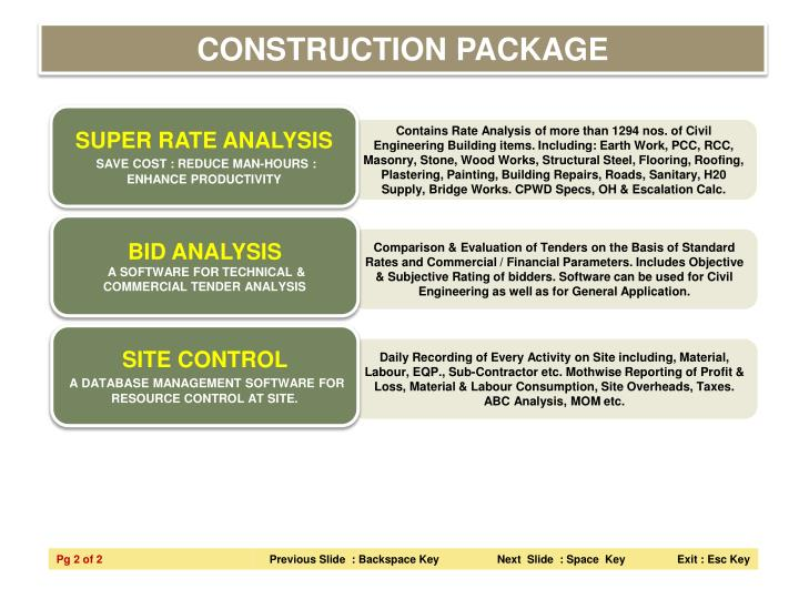 CONSTRUCTION PACKAGE