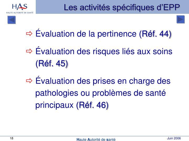 Les activités spécifiques d'EPP