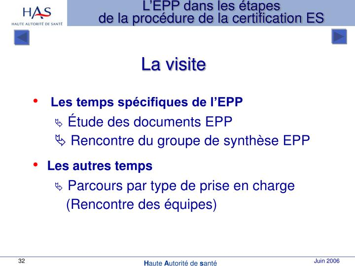 L'EPP dans les étapes