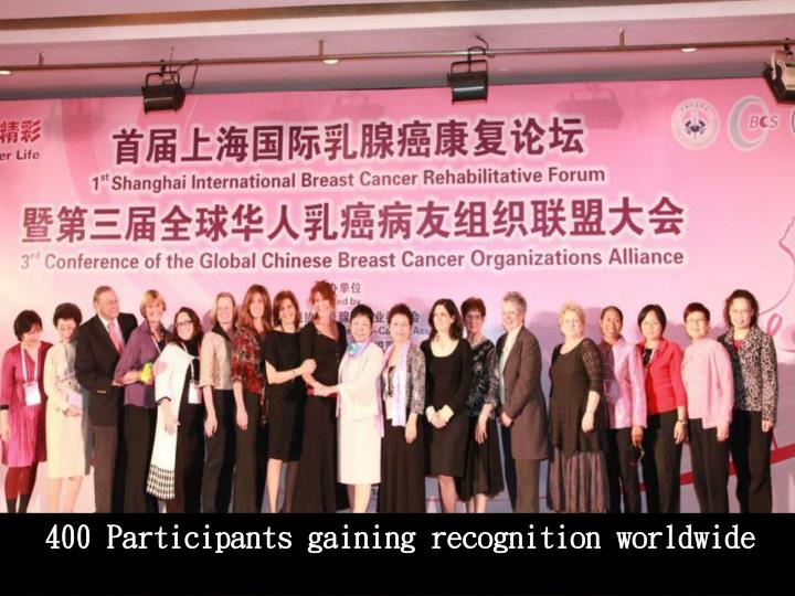 400 Participants gaining recognition worldwide