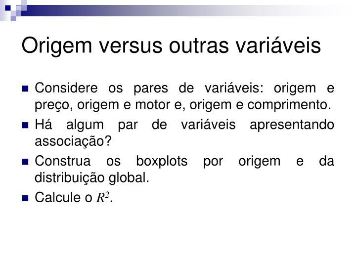 Origem versus outras variáveis