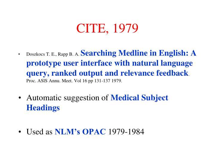 CITE, 1979