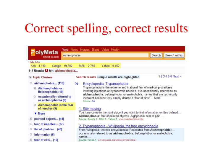 Correct spelling, correct results