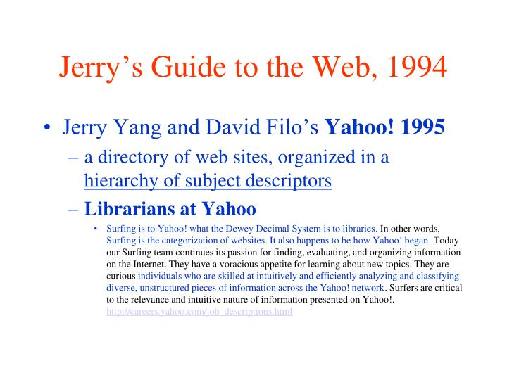 Jerry's Guide to the Web, 1994