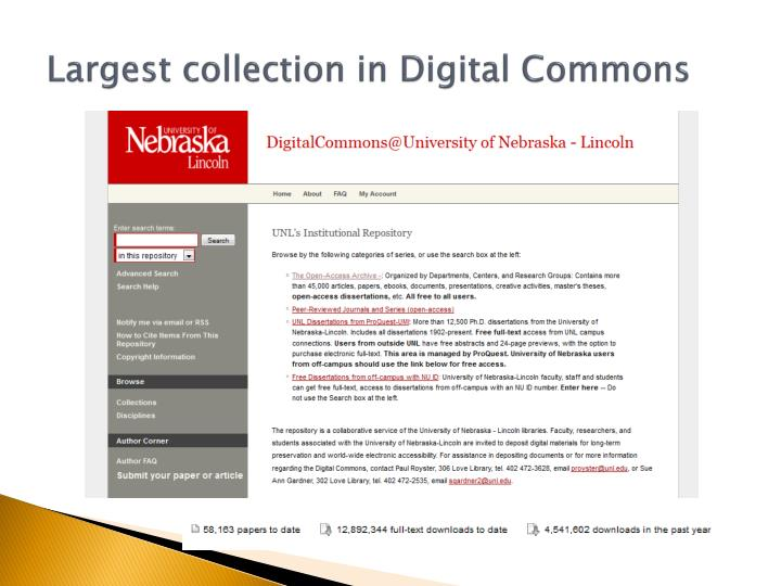 Largest collection in Digital Commons