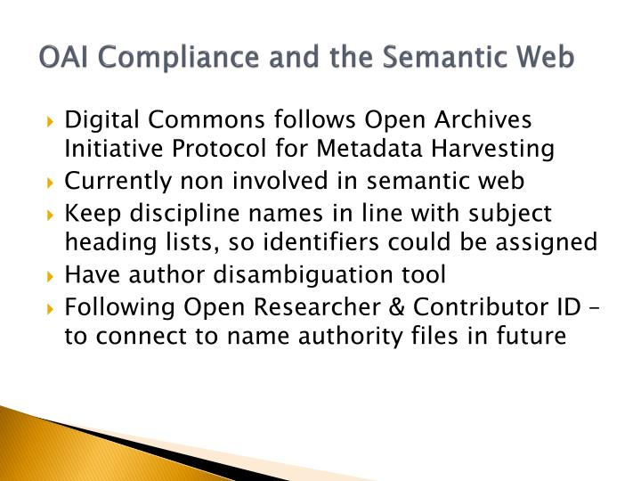 OAI Compliance and the Semantic Web
