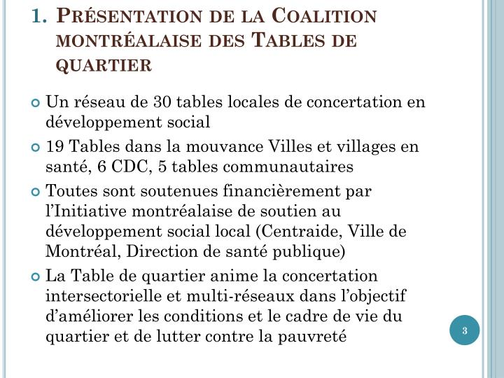 Présentation de la Coalition montréalaise des Tables de quartier