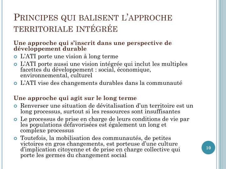 Principes qui balisent l'approche territoriale intégrée