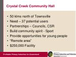 crystal creek community hall