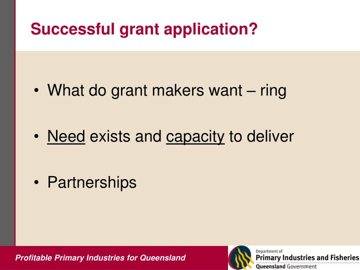 Successful grant application?
