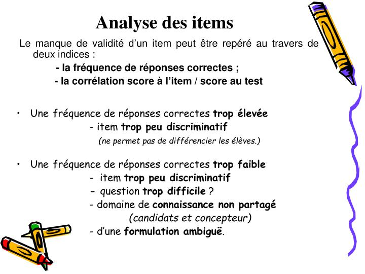 Analyse des items