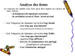 analyse des items