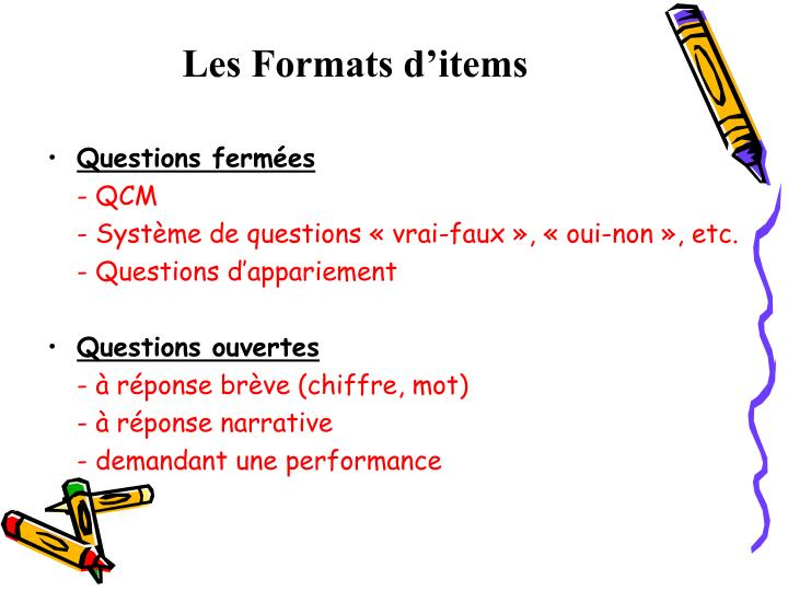 Les formats d items
