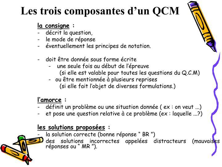 Les trois composantes d'un QCM