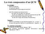 les trois composantes d un qcm