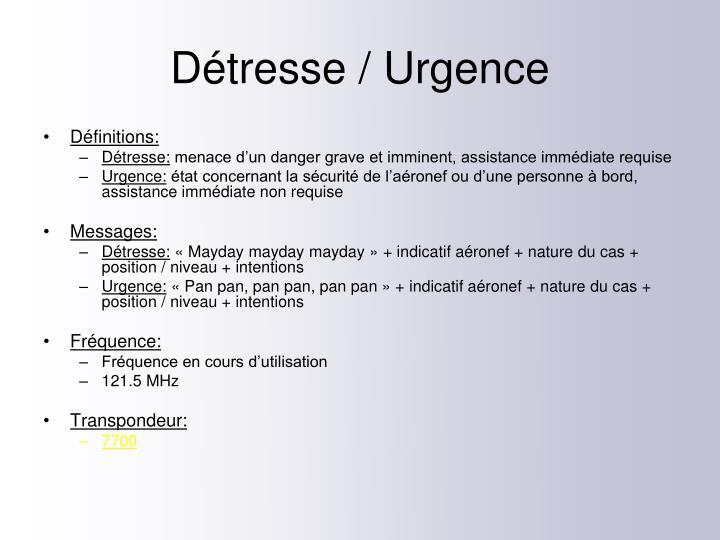 Détresse / Urgence