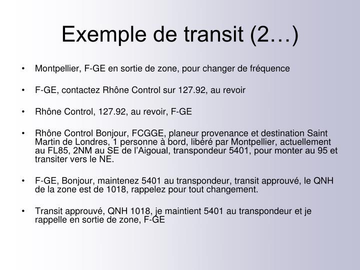 Exemple de transit (2…)