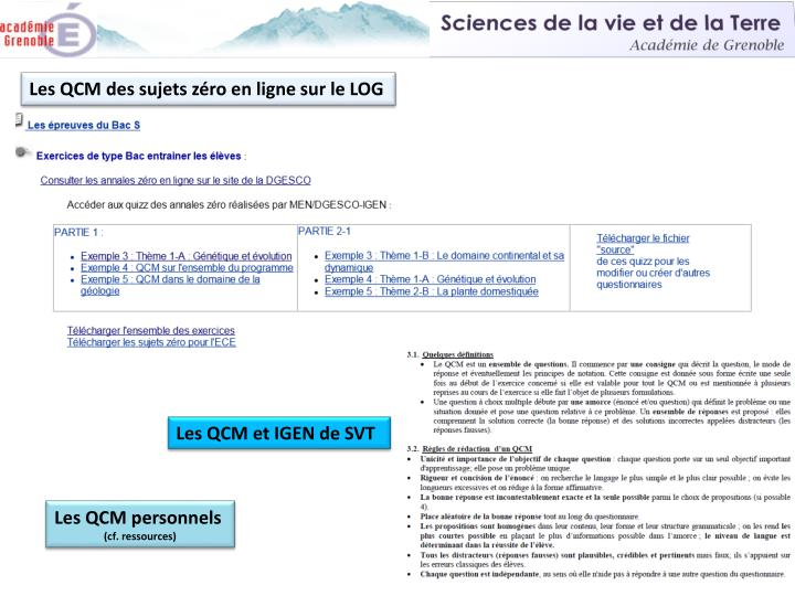 Les QCM des sujets zéro en ligne sur le LOG
