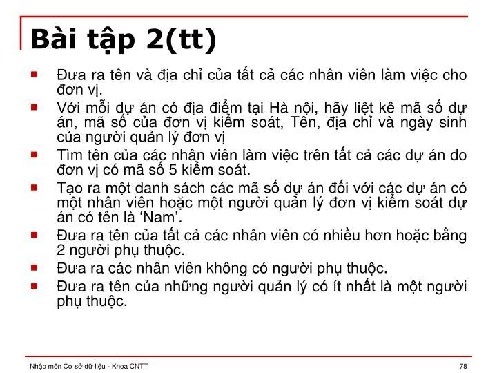 Bài tập 2(tt)
