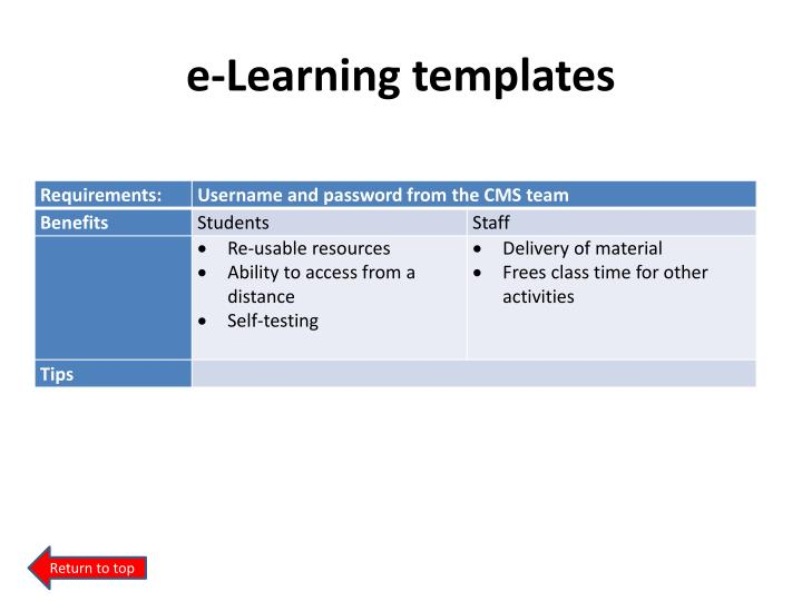 e-Learning templates