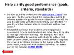 help clarify good performance goals criteria standards