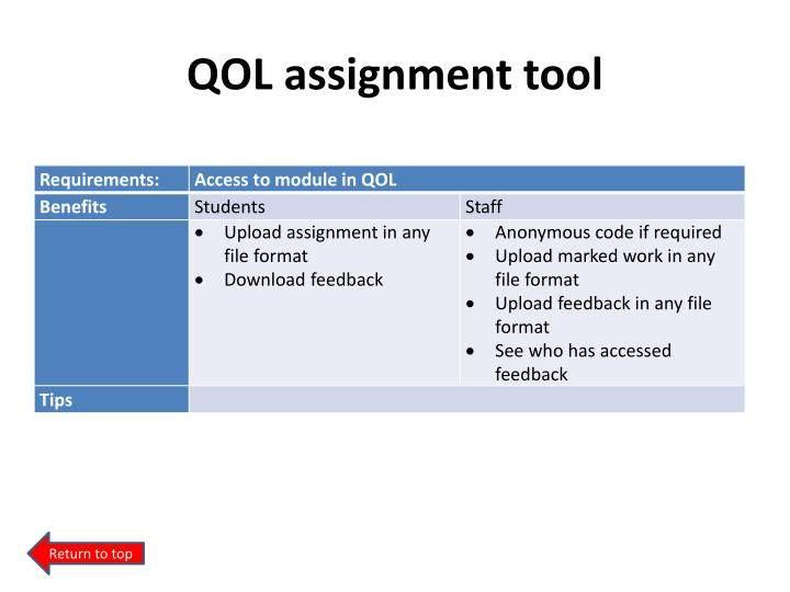 QOL assignment tool