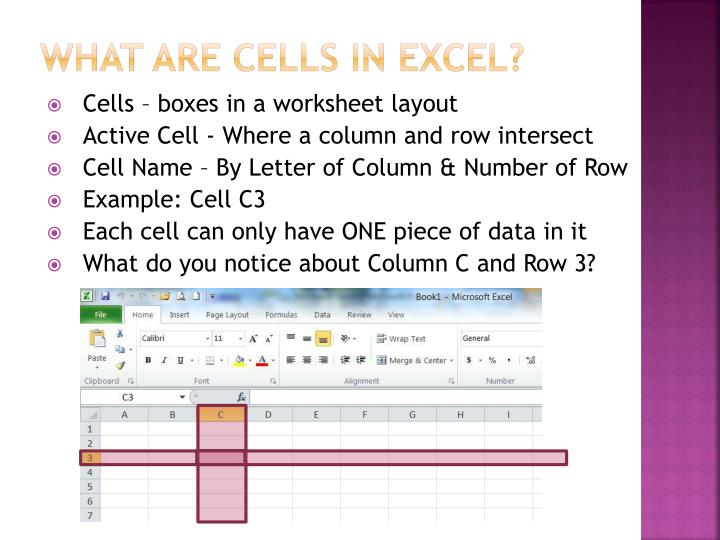 What are cells in Excel?