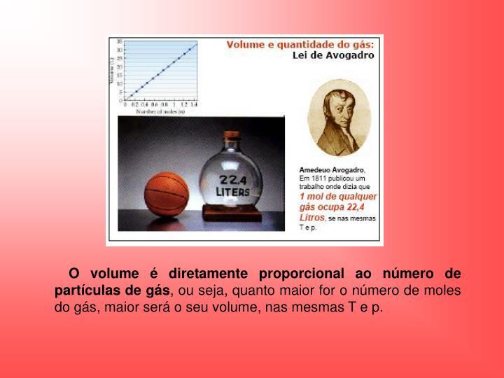 O volume é diretamente proporcional ao número de partículas de gás