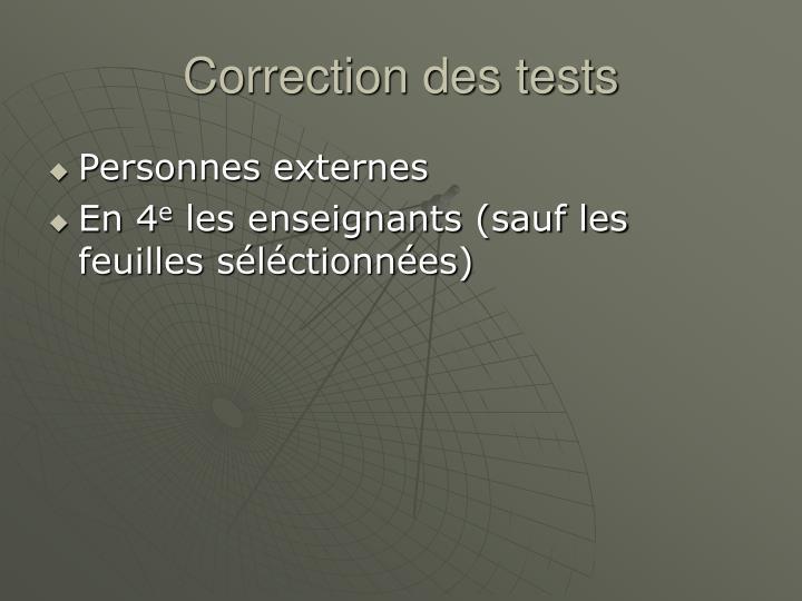 Correction des tests