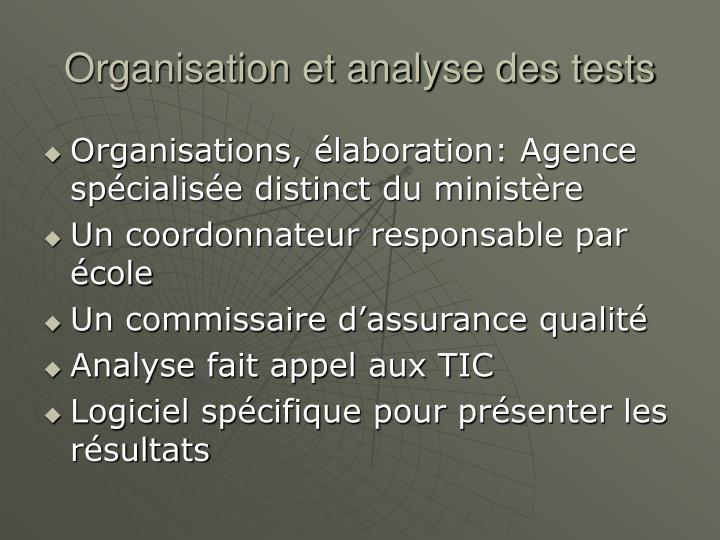 Organisation et analyse des tests