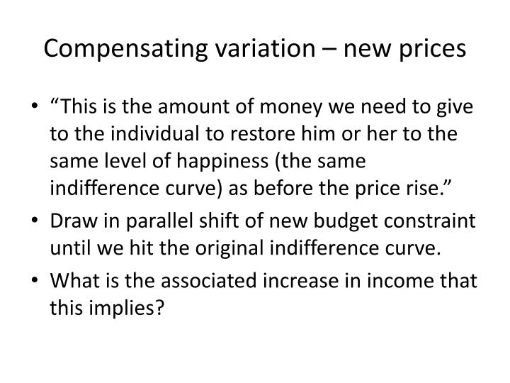 Compensating variation – new prices