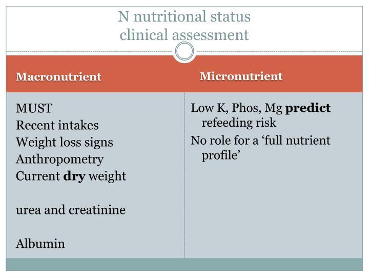 N nutritional status