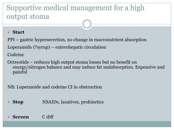 Supportive medical management for a high output stoma