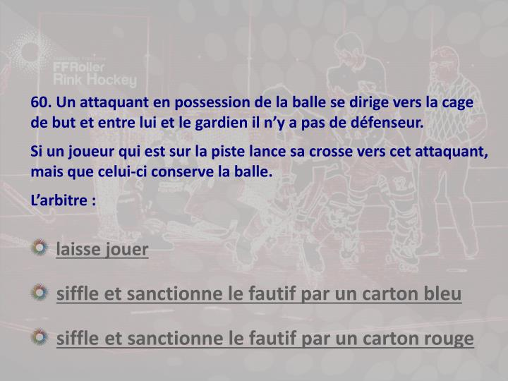 60. Un attaquant en possession de la balle se dirige vers la cage de but et entre lui et le gardien il n'y a pas de défenseur.