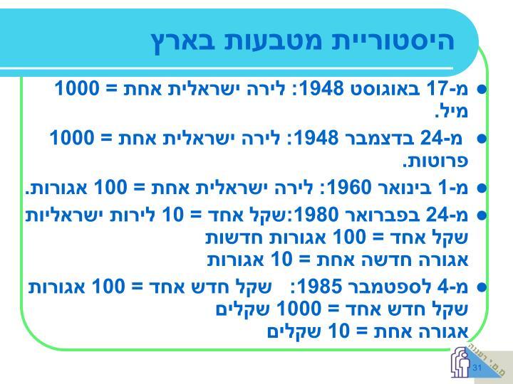 היסטוריית מטבעות בארץ