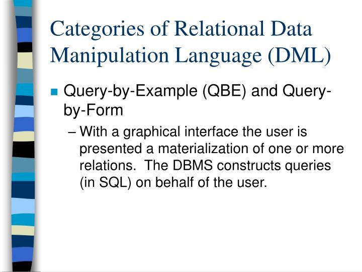 Categories of Relational Data Manipulation Language (DML)