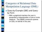 categories of relational data manipulation language dml2