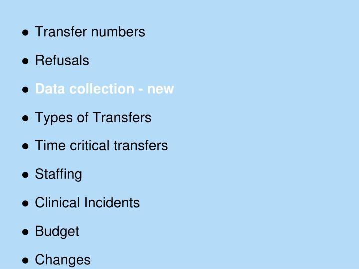 Transfer numbers