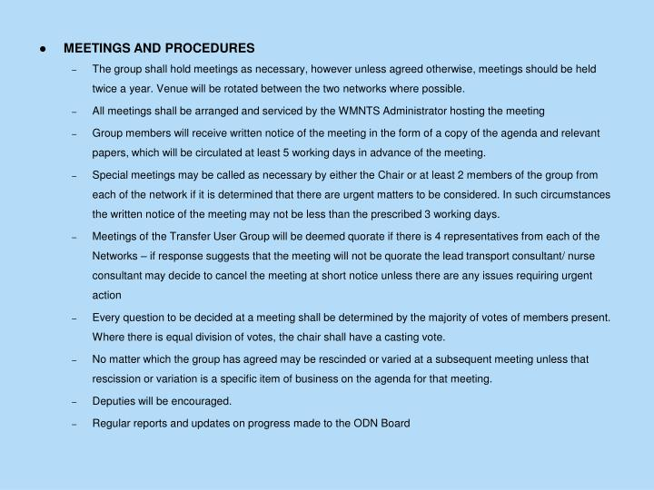 MEETINGS AND PROCEDURES