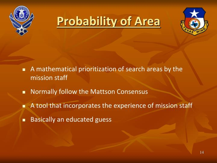 Probability of Area