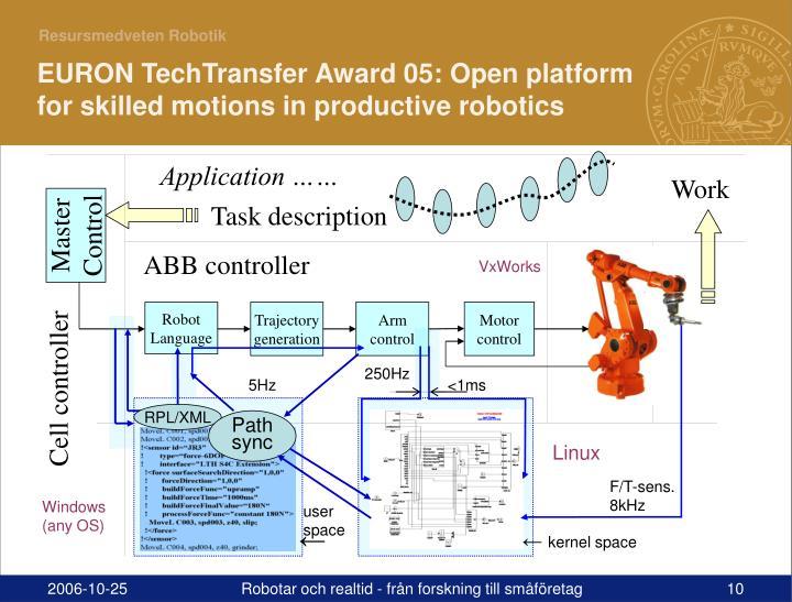 EURON TechTransfer Award 05: Open platform