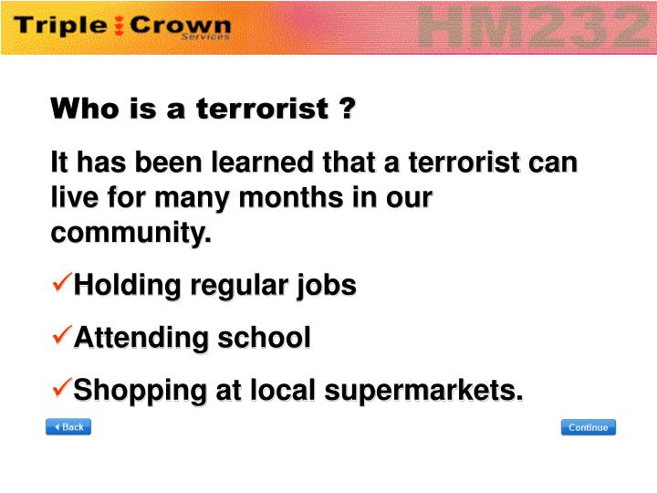 Who is a terrorist ?