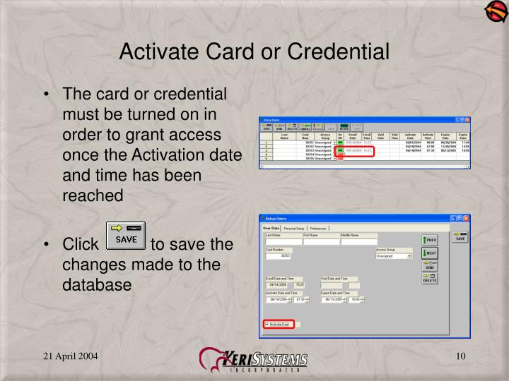 Activate Card or Credential