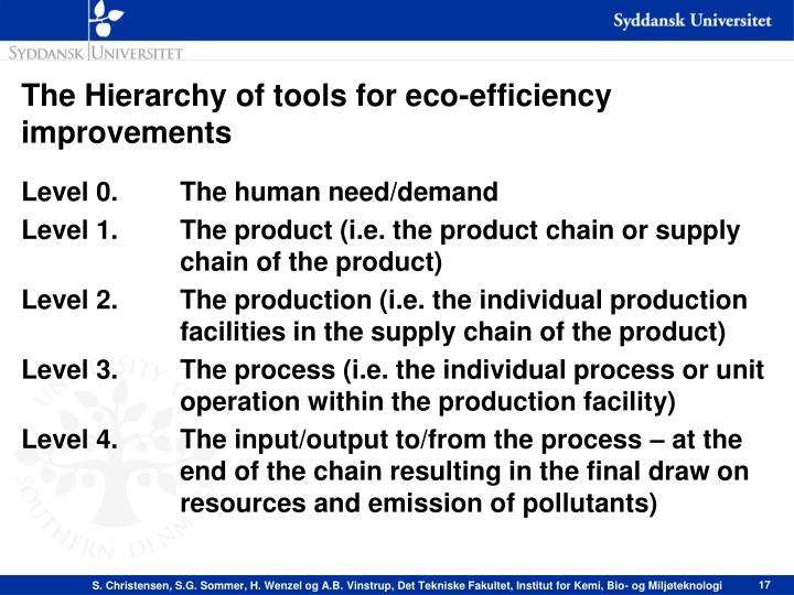 The Hierarchy of tools for eco-efficiency