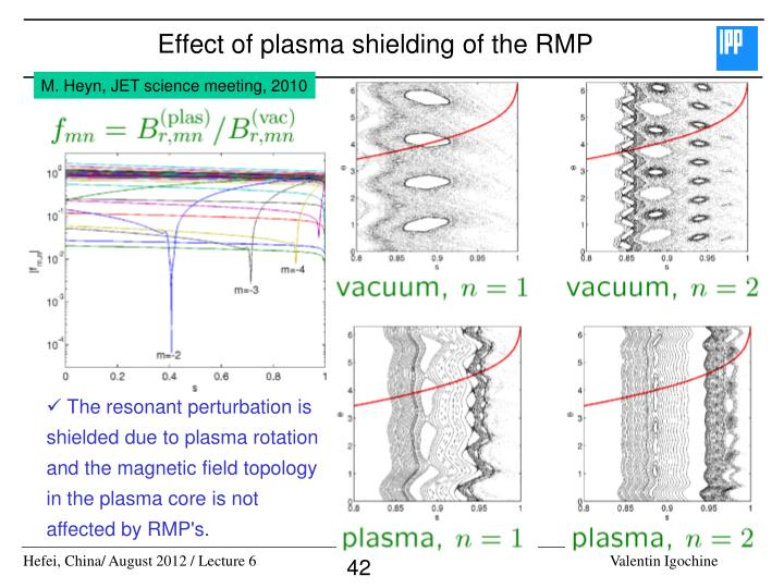 Effect of plasma shielding of the RMP