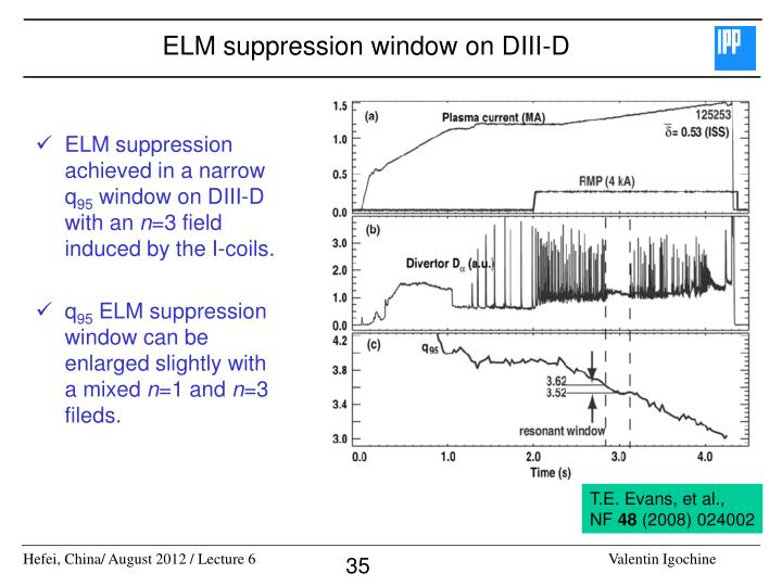 ELM suppression window on DIII-D
