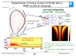 experiments of active control of elms with a rmp on diii d tokamak