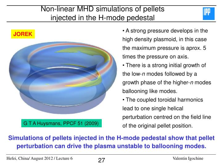 Non-linear MHD simulations of pellets injected in the H-mode pedestal