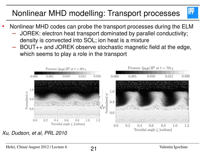Nonlinear MHD modelling: Transport processes