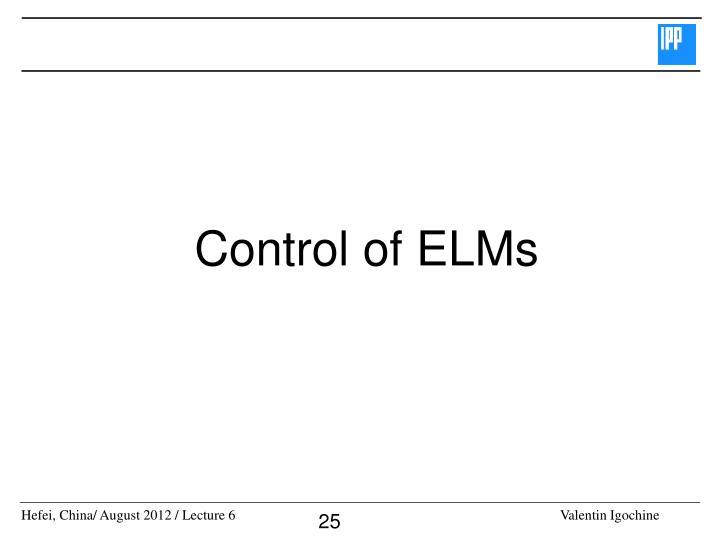 Control of ELMs